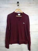 vtg Terrace Wear Lacoste 80s Burgundy IZOD sweatshirt sweater jumper ref21 Large