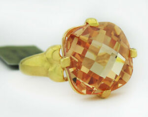 GENUINE 6.84 Cts YELLOW TOPAZ RING 10K YELLOW GOLD * Free Certificate Appraisal