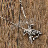 Unisex Norse Viking Odin's Ravens Amulet Necklace Vintage Talisman Jewelry