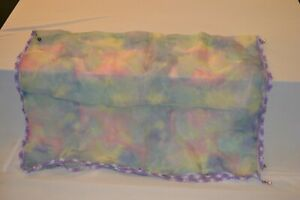 Hand Crochet sheer fabric Food Cover with metal weights.