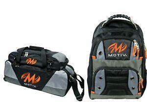 Motiv 3 Ball Tote Bowling Bag Tow Wheels Shoe Pocket & Matching Backpack Black