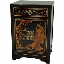 Oriental Furniture Black Lacquer End Table Cabinet, New, Free Shipping