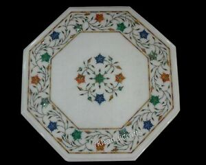 Multi Color Stone Art Coffee Table Top Hand Inlaid with Elegant Look Side Table