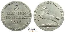 Braunschweig-C.-Hannover, Georg III., 3 Mariengroschen 1818 CHH, Pferd, vz+
