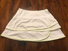 Lucky In Love Scalloped Ruffled Skirt Size Large 14 White/Neon Yellow Skort