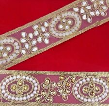 Cake decor Lace Gold Trim Bridal Ribbon Sewing Craft Wedding Sari Border 1 Yard
