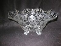 """Vtg ROSEPOINT 12"""" FOOTED CENTERPIECE SERVING BOWL #3400/45 Cambridge Glass Co"""