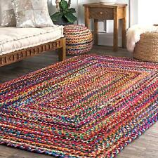 Handmade Braided Cotton Multi Color Area Rug Kilim Yoga Mat Decor Dhurrie