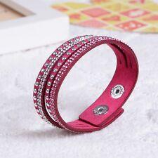 Swarovski Elements Thin Crystal & Leather Strap Bracelet Hot Pink