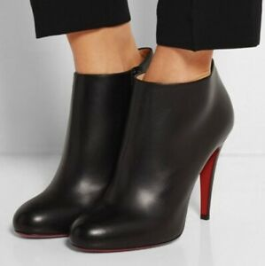 Christian Louboutin Belle 100mm Black Leather Ankle Booties Women's Size 39