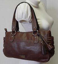 Nine & Co By Nine West Choco Brown Tassel Shoulder Bag Satchel Handbag Purse