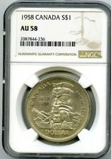 1958 $1 CANADA SILVER DOLLAR NGC AU58 BRITISH COLUMBIA CENTENNIAL LOW MINTAGE