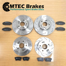 Mazda 3 MPS 2.3DiSi T 09-Front Rear Brake Discs DrilledGrooved + MTEC Pads