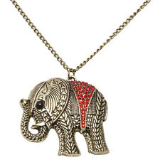 Fashion Women Girl Gold Plated Red Rhinestone Elephant Pendant Chain Necklace
