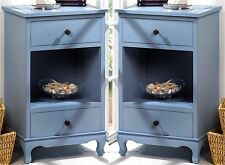 Set of 2 ** SOMERSET BLUE SIDE END ACCENT NIGHT TABLES * 2 DRAWERS & SHELF * NIB