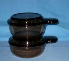 Lot 2 VTG Corning Ware Amber Vision Grab-It Bowls w/Pyrex Glass Lids V-150-B!