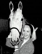 1968 Vintage Photo Figure Skating Champ Barbara Ann Scott poses with mare horse