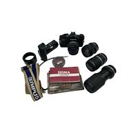 Olympus OM-2s Program 35mm SLR Camera with 4 Lenses and Accessories