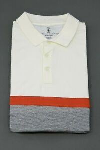 """NWT Brunello Cucinelli Men """"Slim Fit"""" Multi Color-Block Striped Polo Size M A211"""