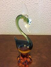 Murano Glass multi colored blue, amber,clear Swan 9 inches tall