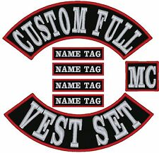 "CUSTOM FULL VEST SET 7"" For Kids Bikers Embroidered Patches"