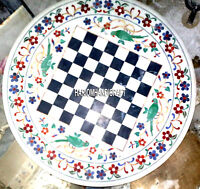 Chess Marble Table Inlay Top Coffee Decor Malachite Marquetry White Mosaic H3313