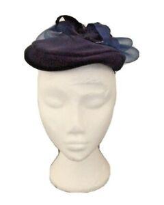 True Vintage 80s 'Right Impression' Navy Blue Velvet Pill Box Hat