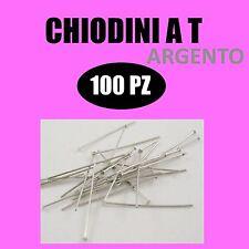 100x SPILLI CHIODINI A T ARGENTO 3 cm ciondoli orecchini ganci minuteria fimo