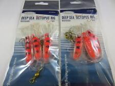 2 RED FLADEN WINGED OCTOPUS GLITTER MUPPET RIG Cod Fishing Lures Sea Boat Tackle