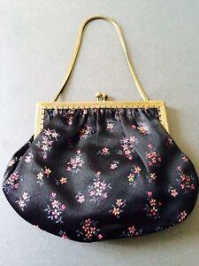 VINTAGE EVENING BAG SATIN EMBROIDERY FLOWERS FLORAL BLACK PINK