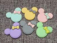 20 Mixed Color Flatback Resin Cute Mouse Head Cabochon 30X25mm Scrapbooking