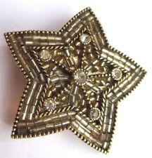 Superbe rare broche bijou vintage couleur or étoile cristal diamant qualité 2877