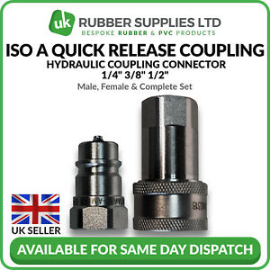Quick Release Fitting BSP ISOA Hydraulic Coupling Connector 1/4 3/8 1/2 NEXT DAY