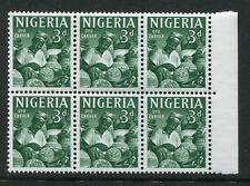 1961 Nigeria.  3d deep green.  Block of 6 MUH.  SG 93.