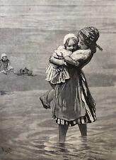 Scheveningue la plage BLOMMERS (1845-1914)  xylographie 1873  Fille