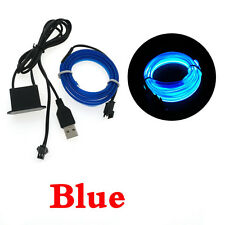 1-5M  EL Wire String Strip Rope Tube Neon LED Light Car Glow+ USB Controller