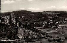 Streitberg fränkische Schweiz s/w AK ~1950/60 Gesamtansicht mit Ruine Streitburg