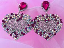 Rhinestones Zara Style Heart Earrings Prom Party Wedding Xmas Gifts Sparkling