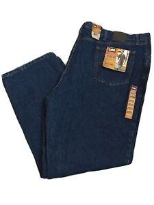 Lee NWT Regular Fit Dark Stone Big & Tall Blue Jeans Mens Size 54x34 $60.00