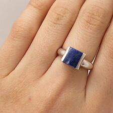 Signed 925 Sterling Silver Real Lapis Lazuli Gemstone Ring Size 6