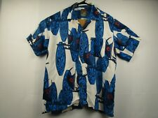 Mens Pineapple Connection Medium White S/S Button Front Hawaiian Camp Shirt