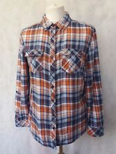 B746 WOMENS M & CO BLUE ORANGE TARTAN CHECK COTTON SHIRT TOP UK XL 14