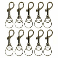 10 Keychains Snap Trigger Swivel Hook Clips Belt Clip Key Removable Rings Spring