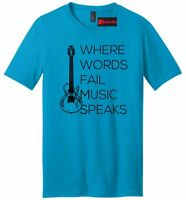 Where Words Fail Music Speaks Mens V-Neck T Shirt Graphic Tee Country Music Tee