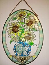 """Vintage Amia Oval 9"""" x 6.5"""" Floral Glass and Metal Hand Painted  Suncatcher"""