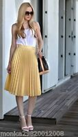 ZARA BLOGGERS GOLD PLEATED MIDI PARTY SKIRT SIZE XS,S,M,L