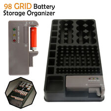 98 Grids Battery Storage Holder Organizer Case Box With Removable Battery Tester