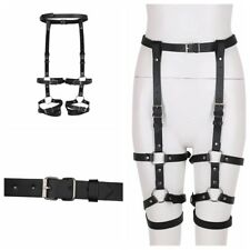 Women's PU Leather Bar Club Garter Belt Leg Harness Thigh Ring Elastic Harness