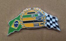 Pin's Ayrton Senna Helmet Flag  - Argent