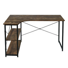 More details for pc computer desk writing study table office home workstation dark wooden metal